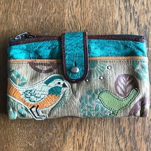 Fossil Bird Wallet Leather Distressed Snap Zipper